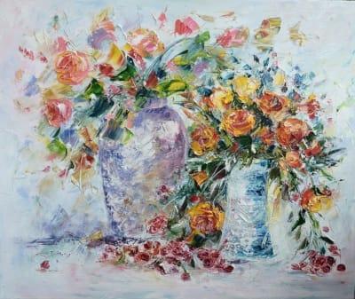 Картина цветы «Цветочная фантазия» купить картину маслом Киев