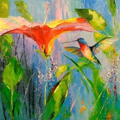 Картина «Цветок и колибри»