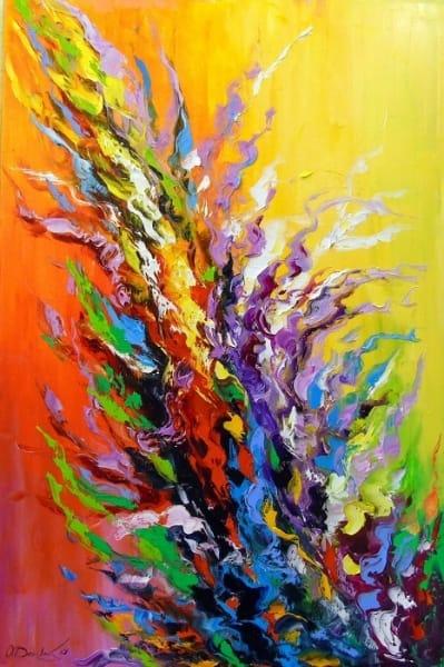 Картина маслом абстракция «Цветок жизни» купить живопись для современных интерьеров Украина