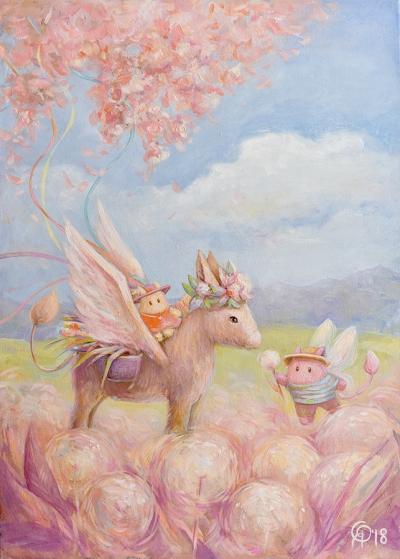 Картина детям «Пухнастики. Среди цветочных полей» купить картину маслом Киев