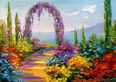 Картина маслом пейзаж «Цветущая арка» купить живопись для современных интерьеров Украина