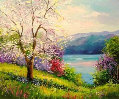 Картина «Цветущая вишня у реки»
