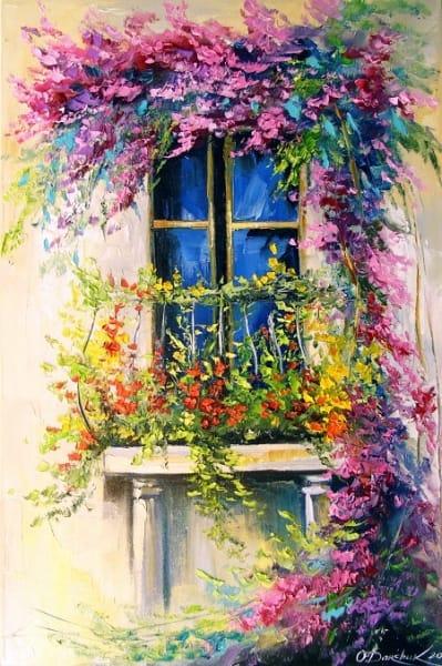 Картина маслом летний пейзаж «Цветущий балкон» купить живопись для современных интерьеров Украина