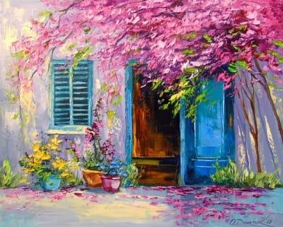 Картина маслом летний пейзаж «Цветущий дворик» купить живопись для современных интерьеров Украина