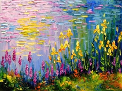 Картина маслом «Цветы у пруда» - живопись для современных интерьеров Украина