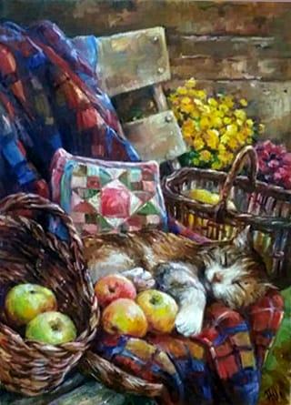 Картина натюрморт «Дачные сны» купить живопись для современных интерьеров Украина