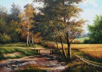 Картина «Сельский пейзаж. Река»