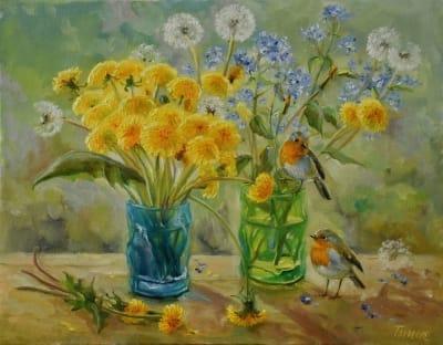 Картина цветы «Детство» купить живопись для современных интерьеров Украина