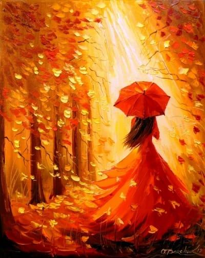 Картина маслом осенний пейзаж «Девушка-осень» - картины для современных интерьеров Украина