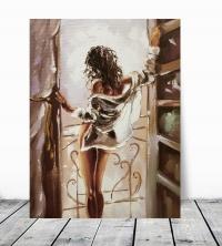 Картина маслом «Девушка у окна» купить живопись для современных интерьеров Украина