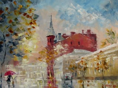 Картина маслом осенний пейзаж «Моросит» купить живопись для современных интерьеров Украина