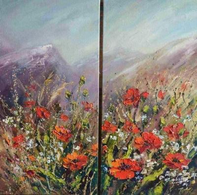 Картина диптих маслом цветы «Цветущие маки» купить живопись пейзаж Украина