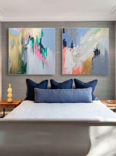 Картины абстракции маслом «Смесь моих желаний» диптих 2 живопись для современных интерьеров