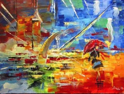 Картина маслом абстракция «Дождь» - живопись для современных интерьеров Украина