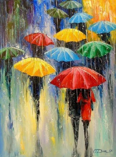 Картина маслом пейзаж «Дождь»  картины для современных интерьеров Украина