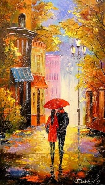 Картина маслом «Дождь для двоих» - картины для современных интерьеров Украина