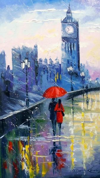 Картина городской пейзаж «Дождь в Лондоне» купить живопись для современных интерьеров Украина