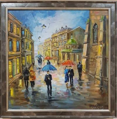 Картина городской пейзаж «Прекрасная музыка дождя. Виды Львова» в раме - купить современную живопись Украина