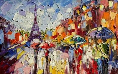 Картина маслом Франция Париж «Дождливое утро в Париже» - живопись для современных интерьеров