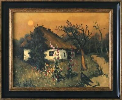 Картина «Домик над речкой» купить живопись для современных интерьеров Украина пейзаж сельский
