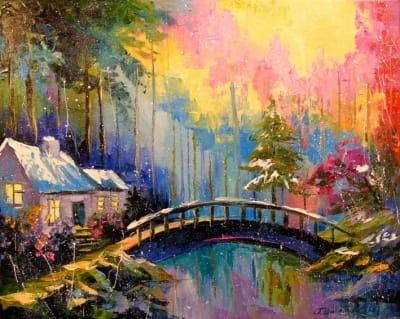 Картина «Домик в лесу»
