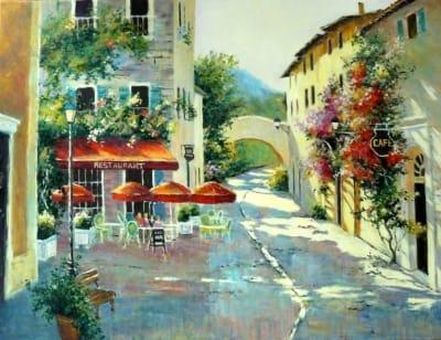 Картина маслом «Дворик с рестораном» живопись для современных интерьеров