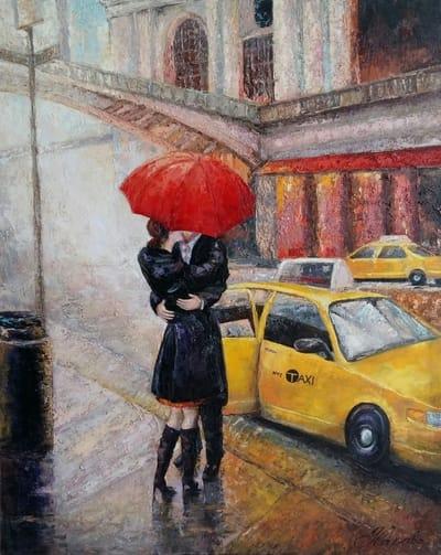 Картина маслом городской пейзаж Нью- Йорк 1«Нью Йорк, я люблю тебя. Поцелуй» по мотивам