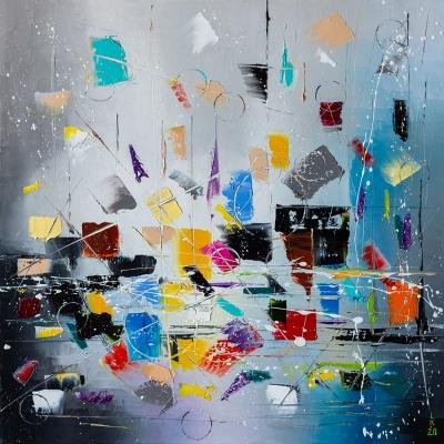 Картина маслом абстракция «Фантазия» купить живопись для современных интерьеров Киев