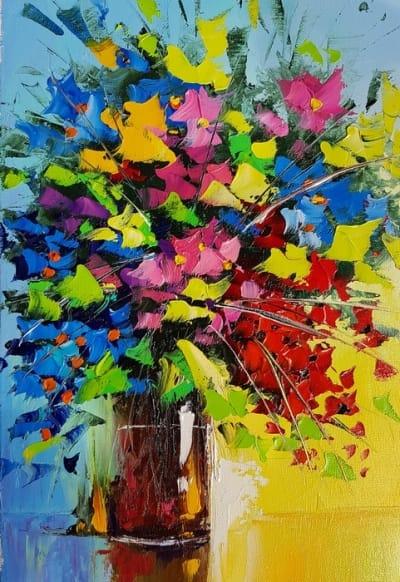 Картина цветы «Цветочная феерия» купить живопись для современных интерьеров Киев