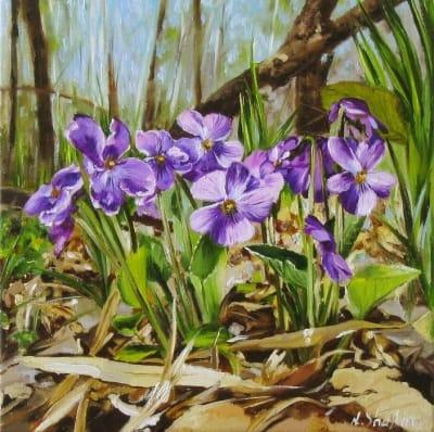 Картина цветы «Фиалочки в весеннем лесу» купить живопись для современных интерьеров Украина
