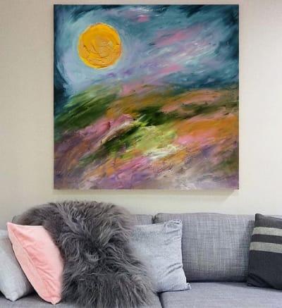 Картина абстракция пейзаж «Цветущие поля. Закат» картины для современных интерьеров