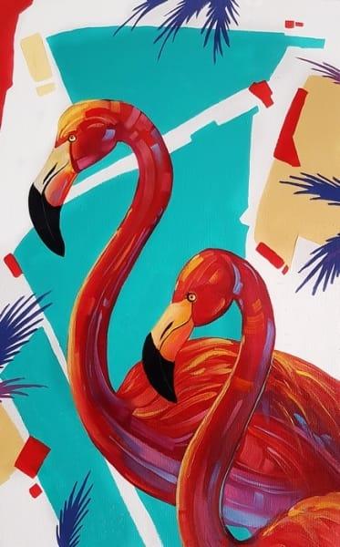 Картина анималистика «Фламинго» купить живопись для современных интерьеров Киев