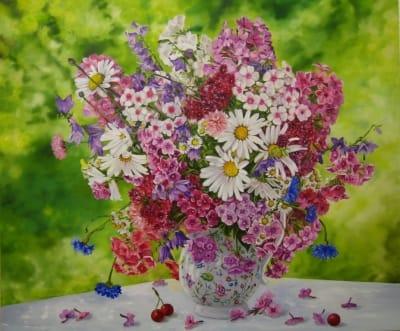 Картина цветы «Флоксы» купить живопись для современных интерьеров Украина