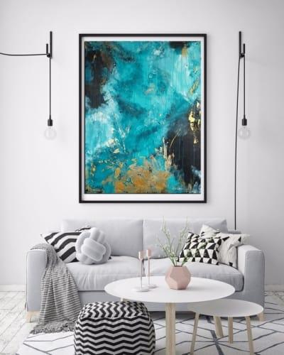 Картина абстракция для современных интерьеров «Green & Gold» купить живопись Киев