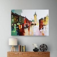 Картина маслом городской пейзаж «Загадочный Львов» купить живопись для современных интерьеров Киев