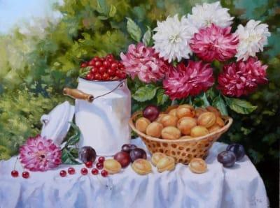 Картина «Георгины с фруктами»