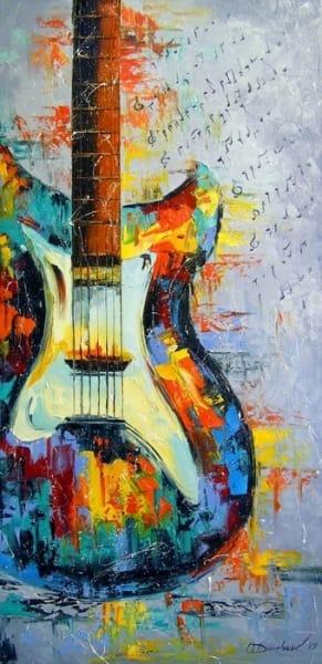 Картина маслом «Гитара» купить живопись для современных интерьеров Украина