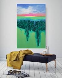 """Картина маслом абстракция морской пейзаж """"Глубокая вода"""" картины для современного интерьера"""