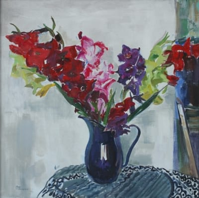 Картина цветы «Гладиолусы в синем кувшине» купить живопись для современных интерьеров Украина