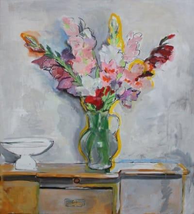 Картина для современных интерьеров цветы «Гладиолусы» купить живопись Украина