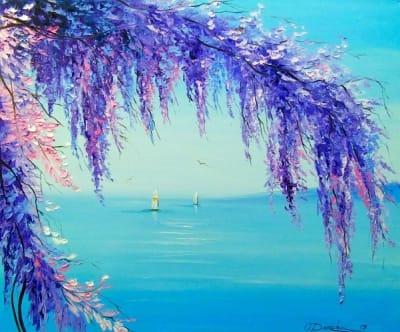 Картина маслом марина «Глициния у моря» - купить живопись для современных интерьеров Украина