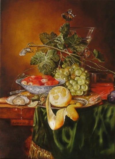 Картина «Голландский натюрморт с лимоном и клубникой» купить живопись для современных интерьеров Украина