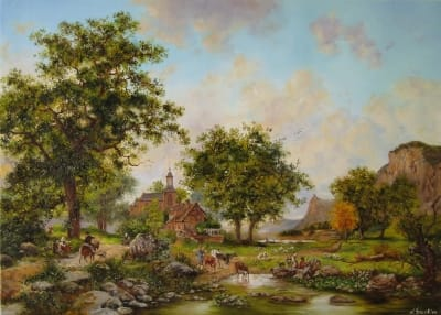 Картина пейзаж «Голландский пейзаж» купить живопись для современных интерьеров Украина