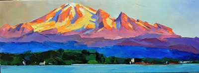 Картина пейзаж «Горы» купить живопись для современных интерьеров Украина