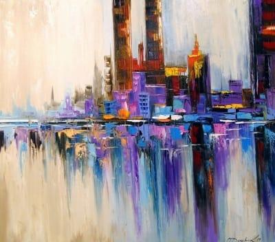 Картина маслом абстрактный пейзаж «Город Тетрис» купить живопись для современных интерьеров Украина