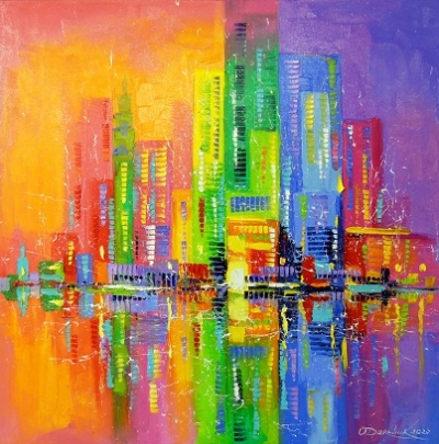 Абстрактная картина «Город счастливых людей» купить живопись для современных интерьеров Украина