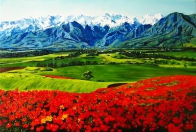 Картина «Горы и маки» купить живопись для современных интерьеров Украина