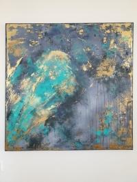 Картина абстракция для современных интерьеров «Grey & Gold» купить живопись Киев