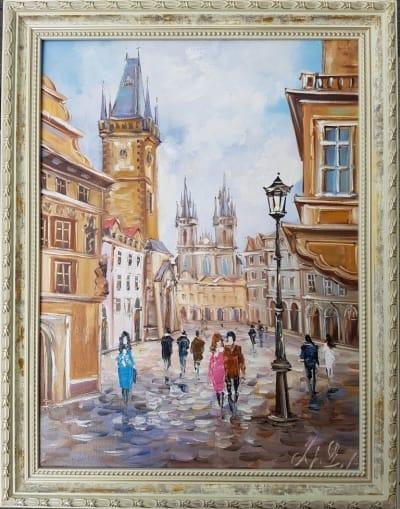 Картина «Гуляя улицами Праги» в раме