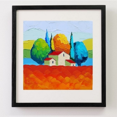 Картина маслом летний пейзаж «Тоскана» купить живопись для современных интерьеров Киев